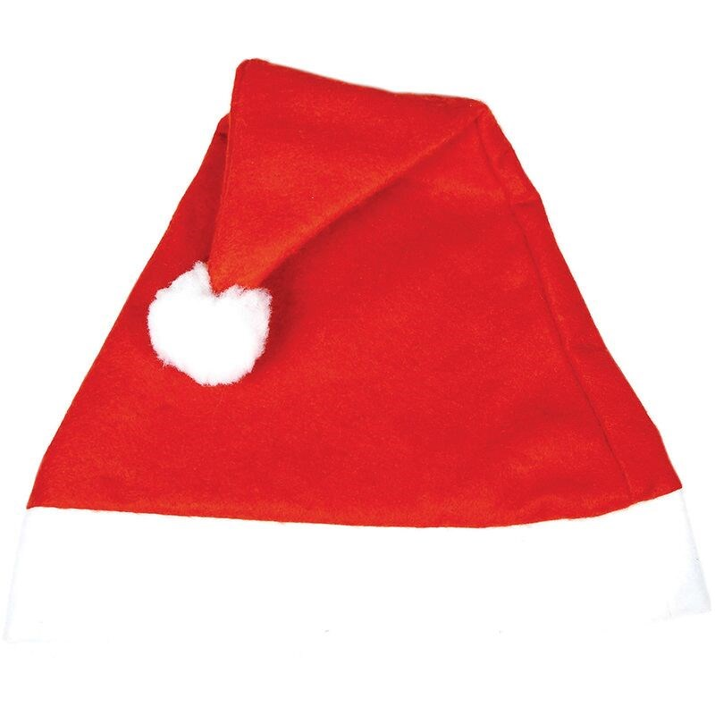 Santa hat  made of red and white soft fluffy fabric, with a white bobble on the top. Perfect for the office festivities, parties or just to war ad be festive! Avilble plain or with printing!