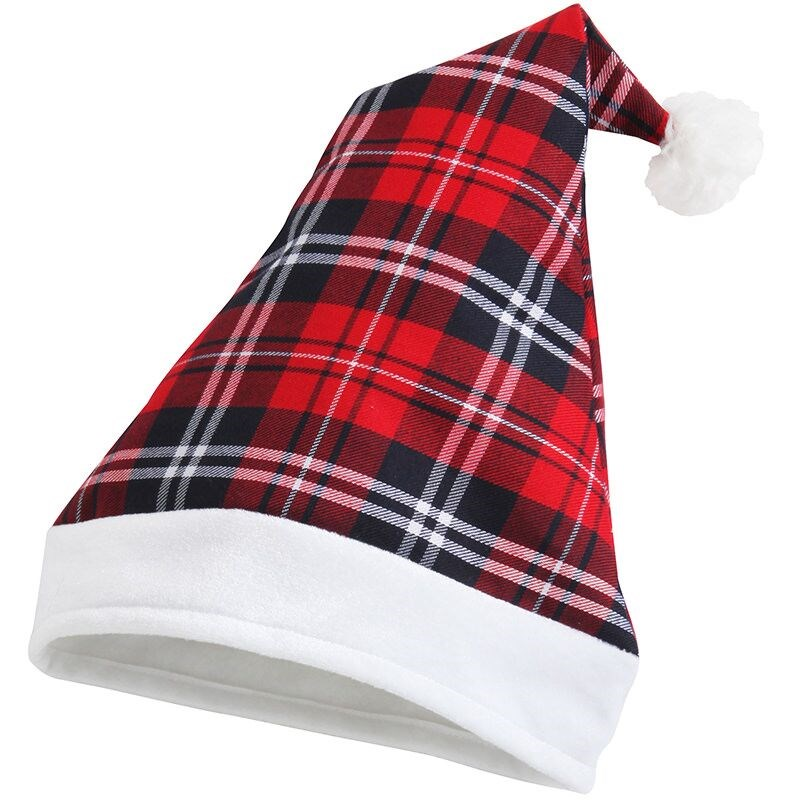 Tartan fabric Santa Hat, available plain or personalsied with printing!
