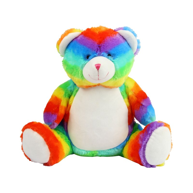Multi-coloured soft plush bear. Contrast sewn nose and eyes. Cream coloured panel on tummy and feet. Complies with EN71 European Toy Safety regulations. Remove all hang tags and their fasteners before giving these items to a child. Suitable for all ages.