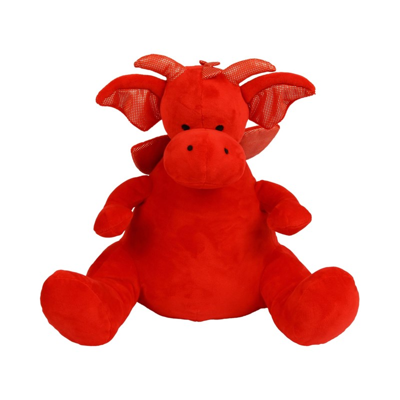Soft plush dragon. Contrast fabric detail. Sewn eyes and nose. Complies with EN71 European Toy Safety regulations. Remove all hang tags and their fasteners before giving these items to a child. Suitable for all ages.