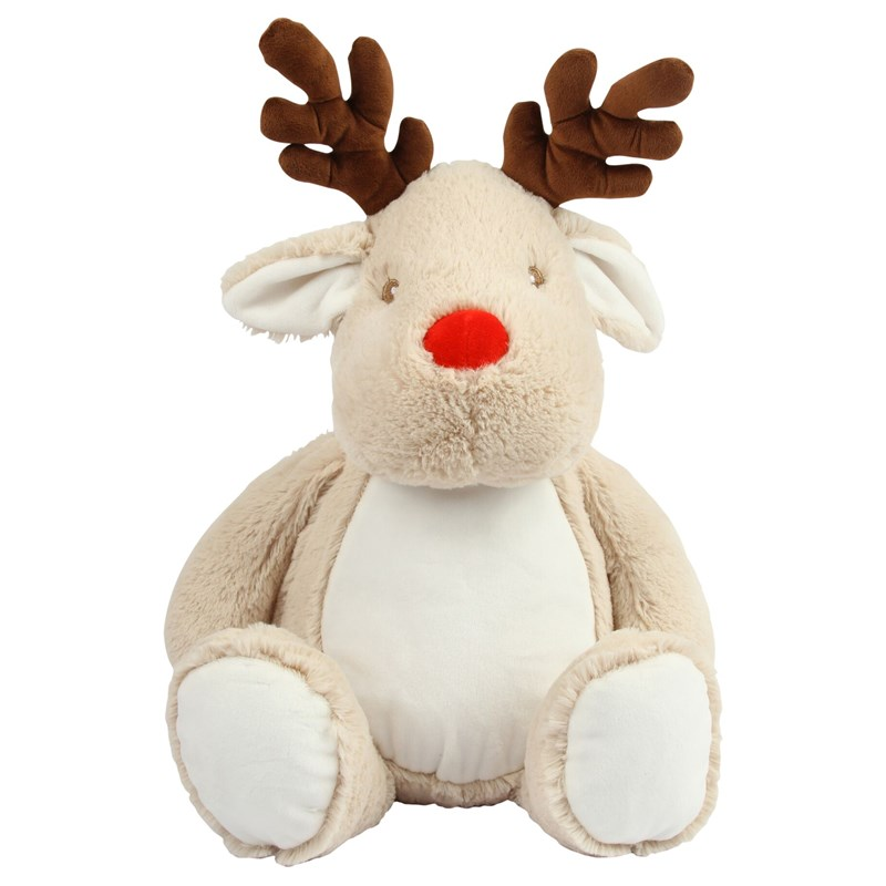 Soft plush reindeer. Contrast eyes and fabric contract nose. Contrast fabric antlers. Cream coloured panel on tummy and inner ears. Complies with EN71 European Toy Safety regulations. Remove all hang tags and their fasteners before giving these items to a child. Suitable for all ages. Hand wash.