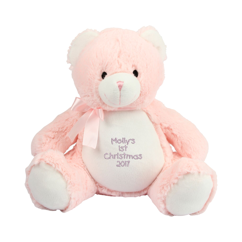 Soft plush bear. Contrast cream nose, front panel and paws. Sewn nose and eyes. Matching ribbon and bow. Complies with EN71 European Toy Safety regulations. Remove all hang tags and their fasteners before giving these items to a child. Suitable for all ages.