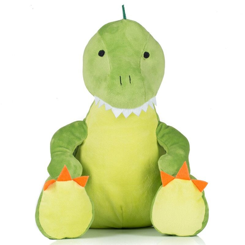 Green coloured Dinosaur. Contrast Felt decoration. Sewn eyes. Light green panel on chest and feet.Complies with EN71 European Toy Safety regulations. Remove all hang tags and their fasteners before giving these items to a child. Suitable for all ages.