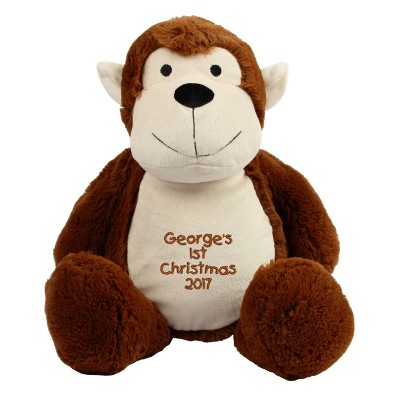 Soft plush monkey. Contrast face, ears and front panel. Sewn eyes and fabric contract nose. Curly self-fabric tail. Complies with EN71 European Toy Safety regulations. Remove all hang tags and their fasteners before giving these items to a child. Suitable for all ages. Hand Wash.