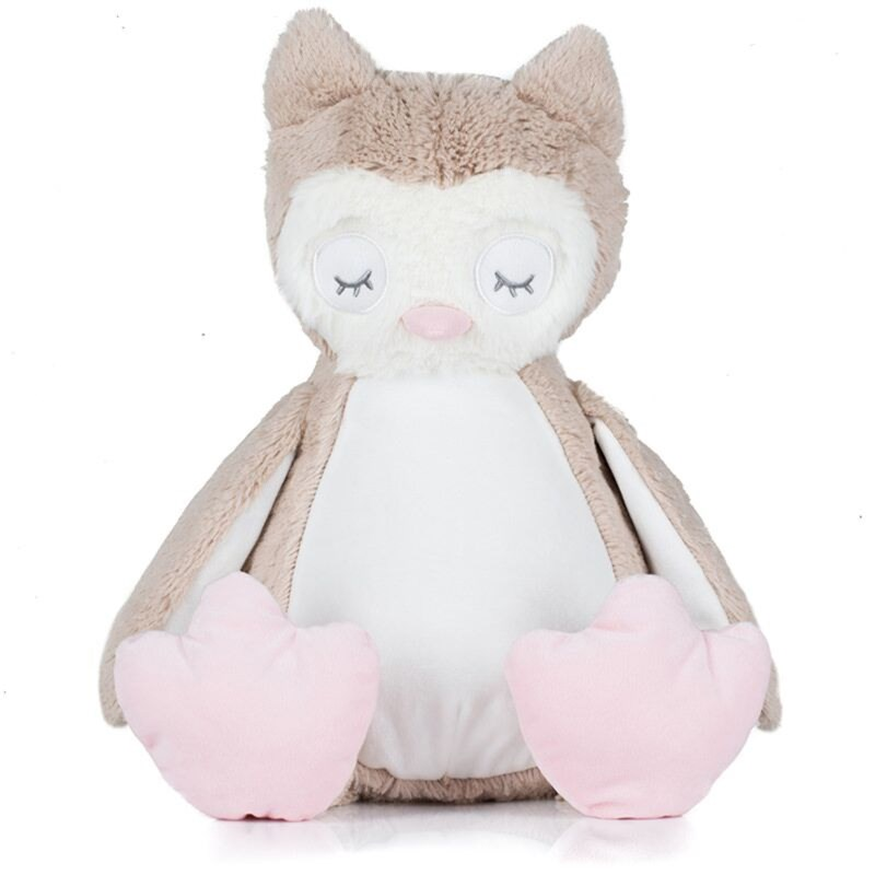 Light Brown coloured soft plush owl. Contrast pink nose and feet. Cream coloured panel on chest and under wings. Complies with EN71 European Toy Safety regulations. Remove all hang tags and their fasteners before giving these items to a child. Suitable for all ages.
