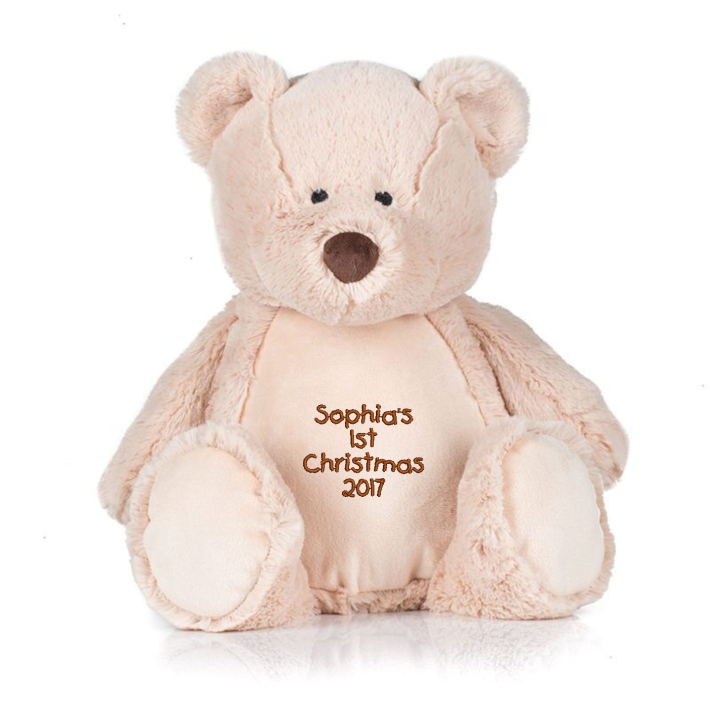 Mid Brown coloured soft plush teddy. Contrast Brown nose. Sewn eyes. Light Brown coloured panel on chest and feet. Removable inner stuffing. Complies with EN71 European Toy Safety regulations. Remove all hang tags and their fasteners before giving these items to a child. Suitable for all ages.