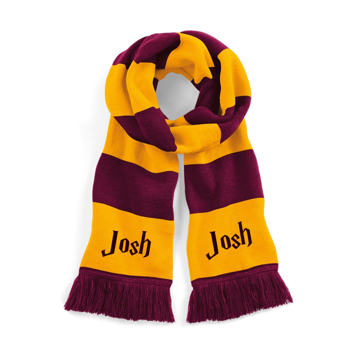 Hogwarts fans will love this Potter style Luxurious double layer knit scarf. Can be personalised with name.